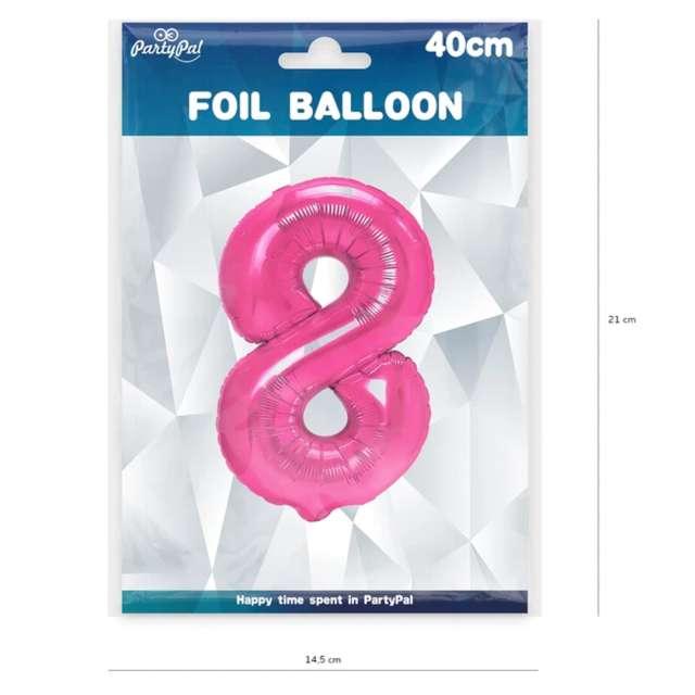 Balon foliowy Cyfra 8 fuksja PartyPal 16