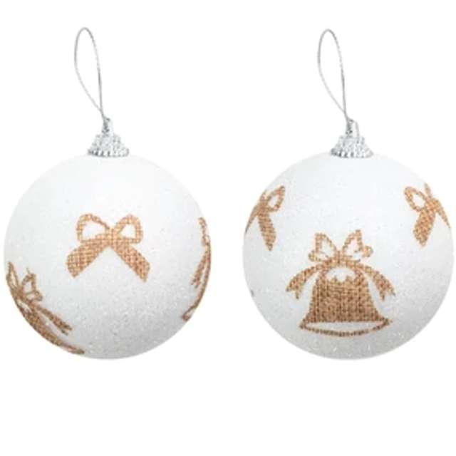 Bombka Złote dzwonki i kokardki biała PartyPal 7 cm