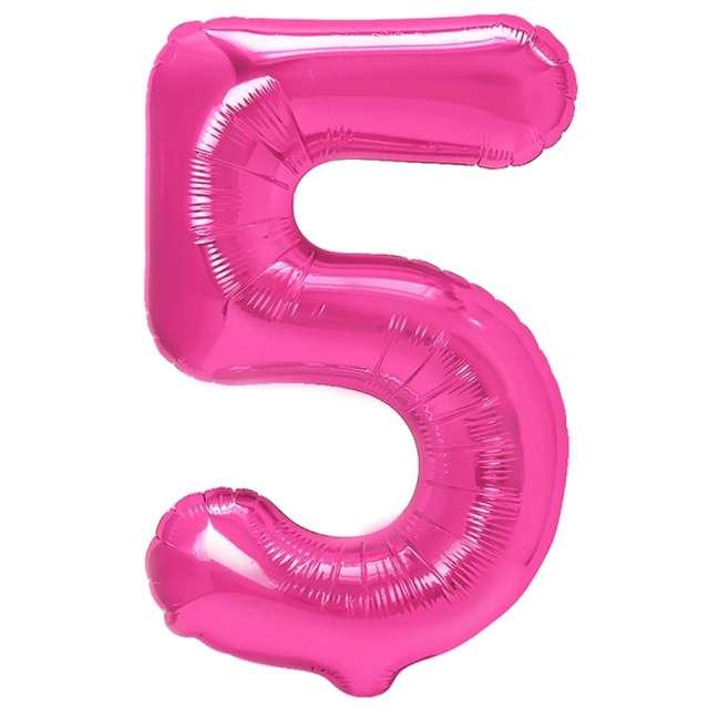 "Balon foliowy ""Cyfra 5"", fuksja, PartyPal, 16"""
