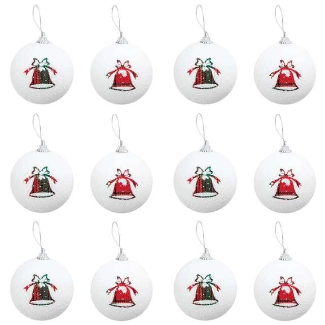 Bombka Kolorowe dzwoneczki biała PartyPal 7 cm