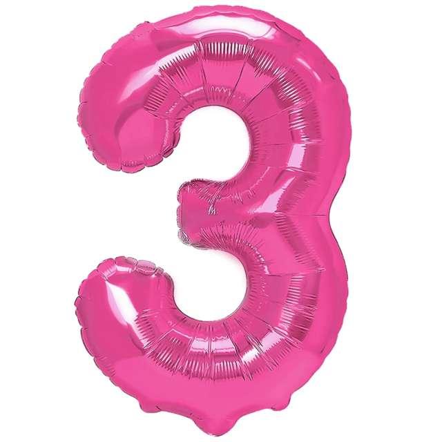 "Balon foliowy ""Cyfra 3"", fuksja, PartyPal, 16"""