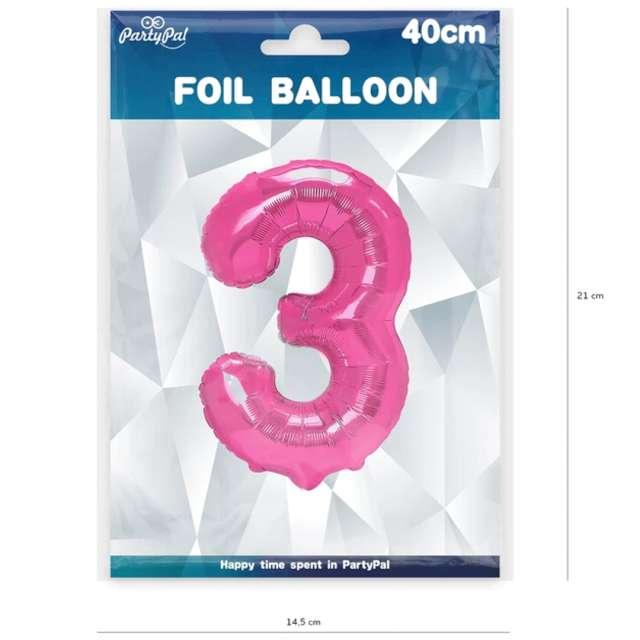 Balon foliowy Cyfra 3 fuksja PartyPal 16
