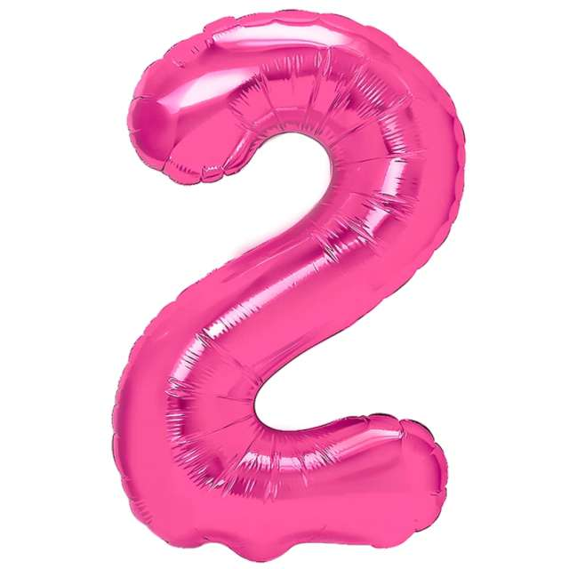 "Balon foliowy ""Cyfra 2"", fuksja, PartyPal, 16"""