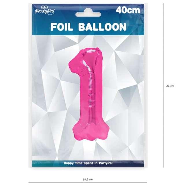 Balon foliowy Cyfra 1 fuksja PartyPal 16