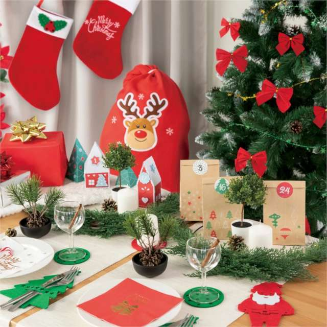Worek Mikołaja Świąteczny Renifer czerwony 50 x 80 cm PartyPal