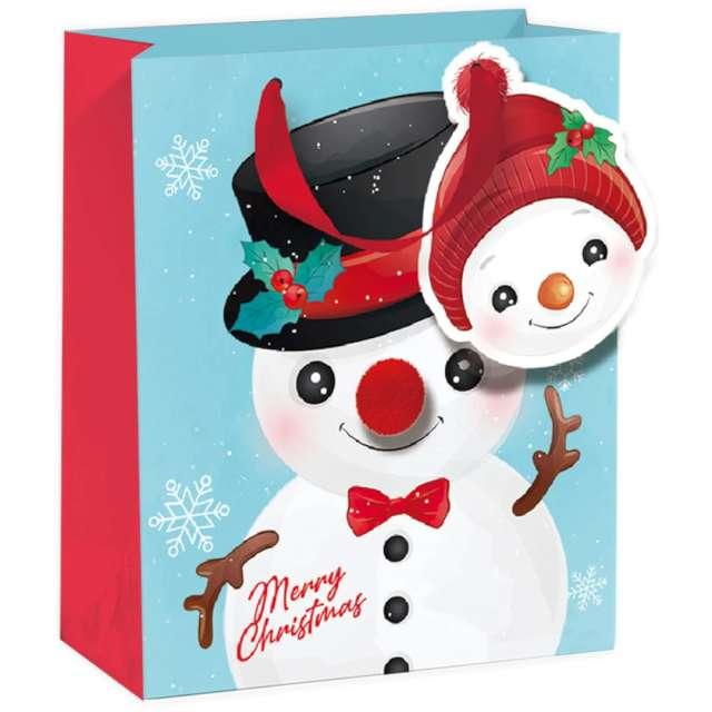 """Torebka prezentowa """"Bałwanek - Merry Christmas"""", błękitna,  PartyPal, 26x32x12,5 cm"""