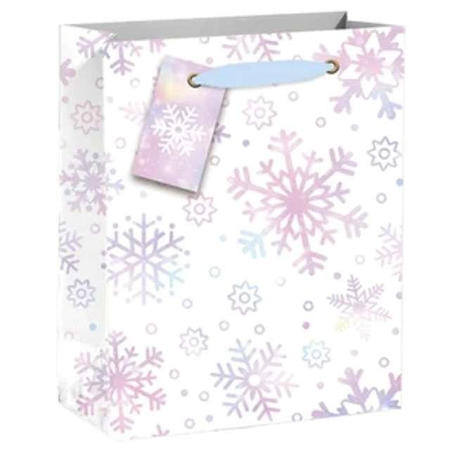 """Torebka prezentowa """"Xmas - Śnieżki """", biała,  PartyPal, 32x42x12 cm"""