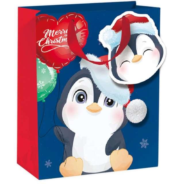"""Torebka prezentowa """"Pingwinek- Merry Christmas"""", niebieska,  PartyPal, 32x42x12 cm"""