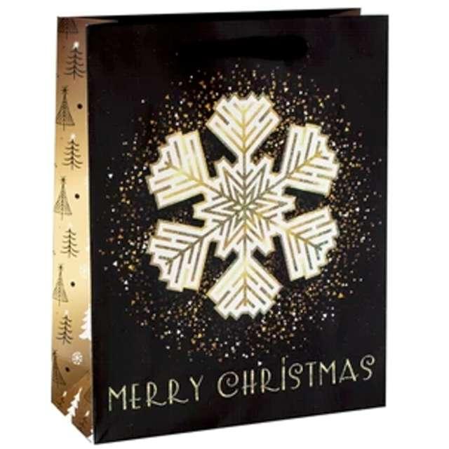"""Torebka prezentowa """"Xmas - śnieżka"""", czarna,  PartyPal, 32x42x12 cm"""