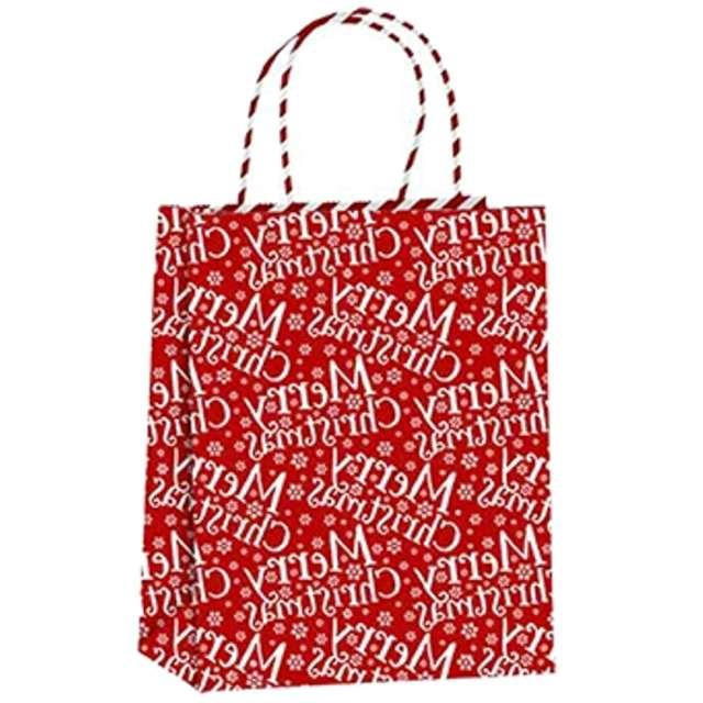"""Torebka prezentowa """"Xmas - życzenia"""", czerwona,  PartyPal, 32x42x12 cm"""