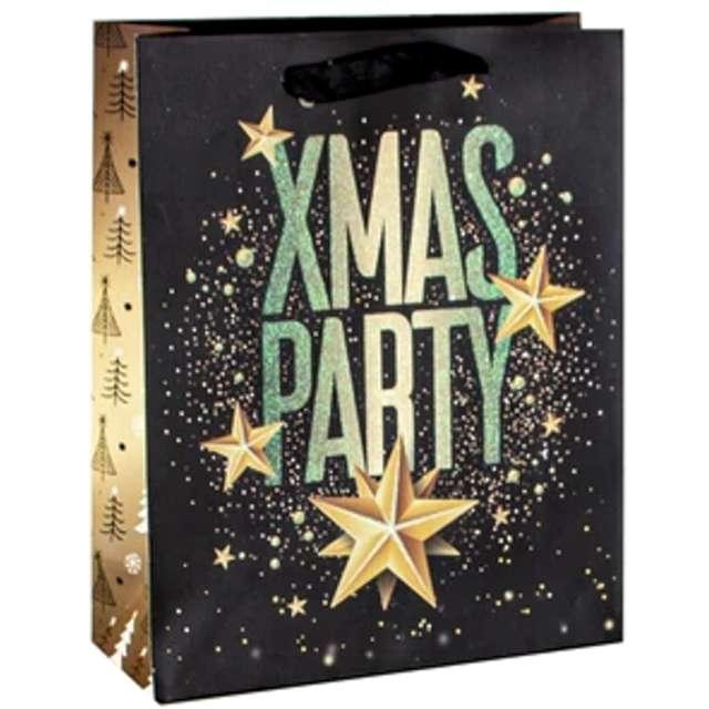 Torebka prezentowa Xmas - party czarna  PartyPal 18x23x10 cm