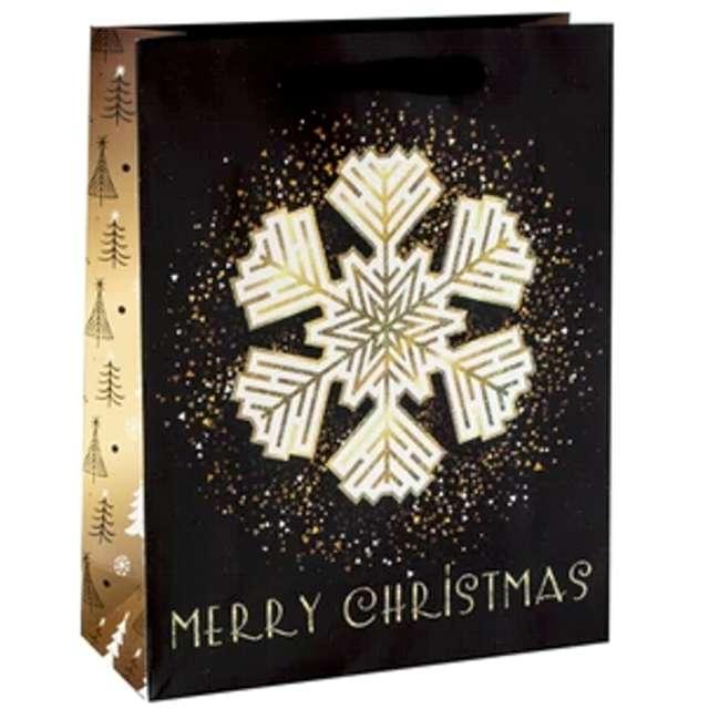 """Torebka prezentowa """"Xmas - śnieżka"""", czarna,  PartyPal, 18x23x10 cm"""