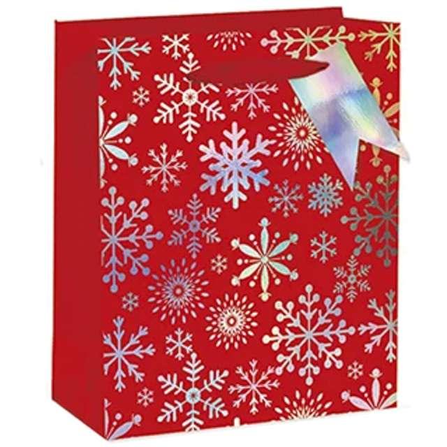 """Torebka prezentowa """"Xmas - śnieżynki"""", czerwona,  PartyPal, 18x23x10 cm"""