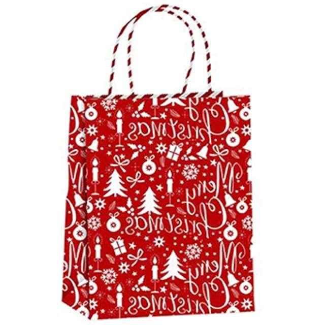 """Torebka prezentowa """"Xmas - śnieżki"""", czerwona,  PartyPal, 18x23x10 cm"""