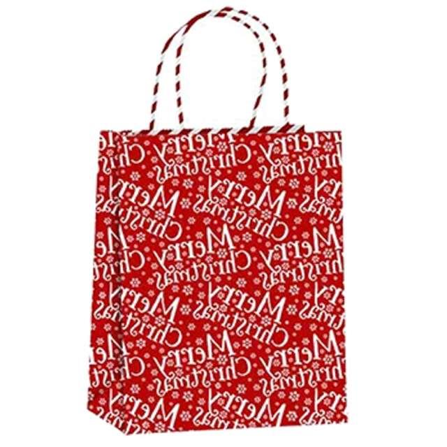 """Torebka prezentowa """"Xmas - życzenia"""", czerwona,  PartyPal, 18x23x10 cm"""