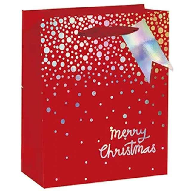 Torebka prezentowa Xmas - śnieg czerwona  PartyPal 26x32x125 cm