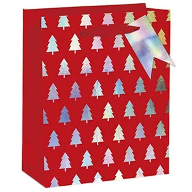 """Torebka prezentowa """"Xmas - choinki"""", czerwona,  PartyPal, 26x32x12,5 cm"""