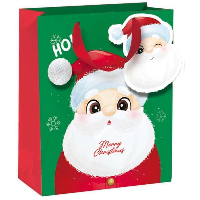 """Torebka prezentowa """"Mikołaj- Merry Christmas"""", zielona,  PartyPal, 26x32x12,5 cm"""
