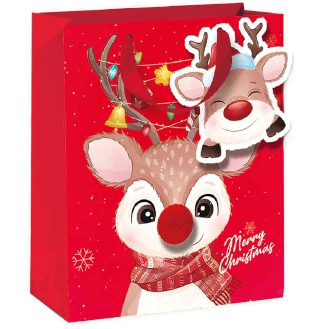 """Torebka prezentowa """"Renifer - Merry Christmas"""", czerwona,  PartyPal, 26x32x12,5"""