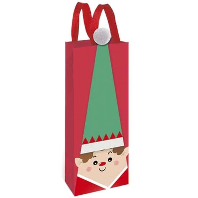 Torebka prezentowa Elf w czapce czerwona PartyPal 34x12x10 cm