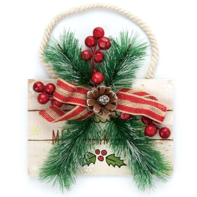 """Zawieszka na choinkę """"Stroik Merry Christmas"""", PartyPal, 19 x 18 cm"""