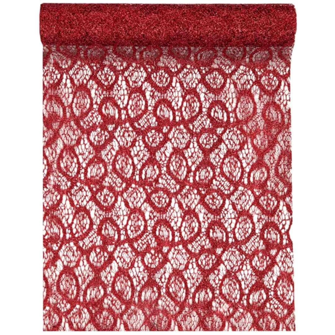 Bieżnik Koronkowy czerwony poliester SANTEX 500 x 28 cm
