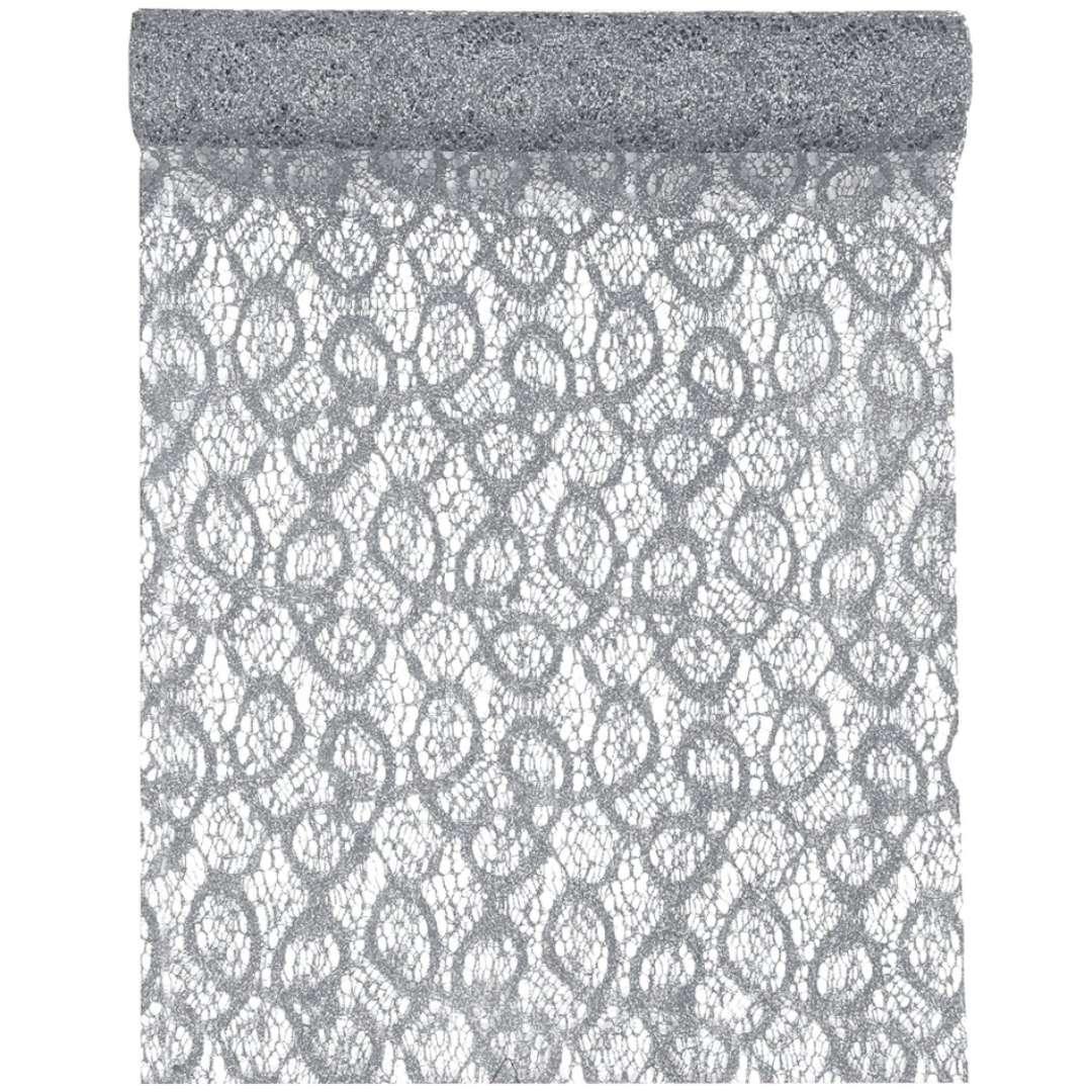 Bieżnik Koronkowy srebrny poliester SANTEX 500 x 28 cm