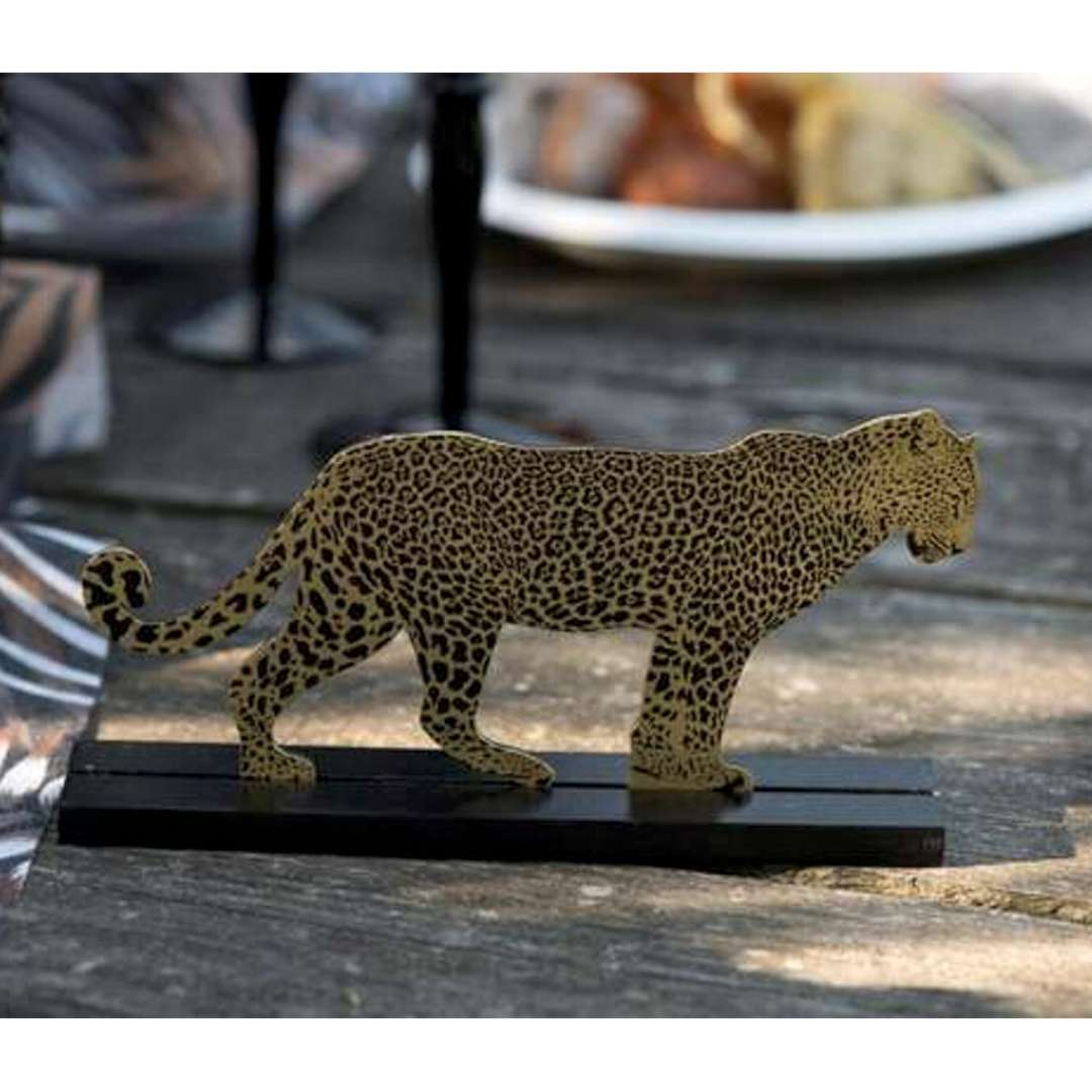 Dekoracja stojąca Lampart - złoto-czarny drewno SANTEX 18 cm