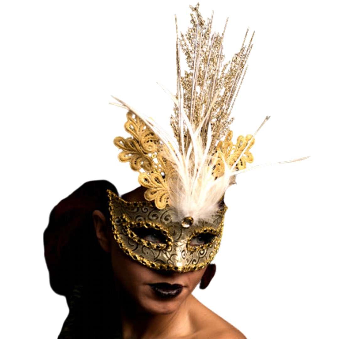 Maska karnawałowa Brokatowa elegancja złota Carnival Toys