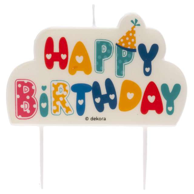 """Świeczka na tort """"Topper Happy Birthday"""", Dekora, 10 x 6,5 cm"""