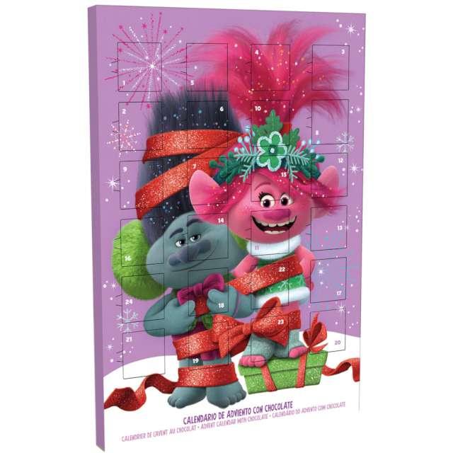 Kalendarz adwentowy Poppy Trols z czekoladkami różowy Dekora