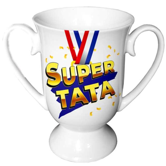Kubek z nadrukiem Super Tata biały BGtech 380 ml