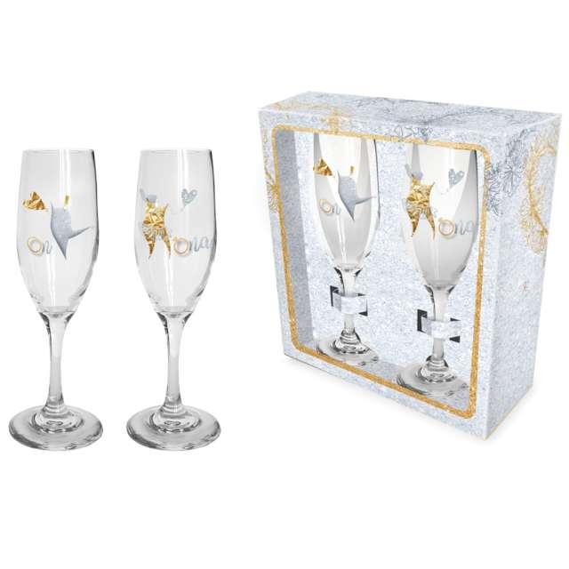 Kieliszki do szampana Ślubne - Para Młoda szklane BGtech 190 ml 2 szt