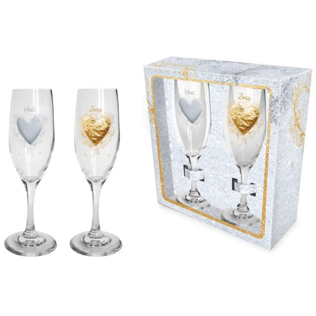 Kieliszki do szampana Ślubne - Serca szklane BGtech 190 ml 2 szt