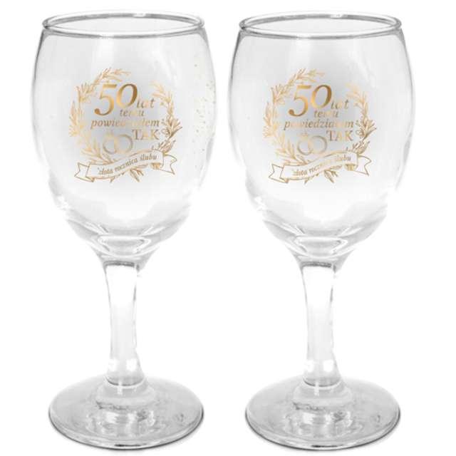 """Kieliszki do wina """"50 rocznica ślubu"""", szklane, BGtech, 220 ml, 2 szt"""
