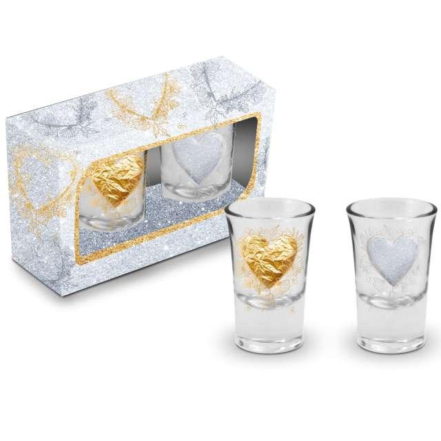 Kieliszki do wódki Ślubne - Serca szklane BGtech 35 ml 2 szt
