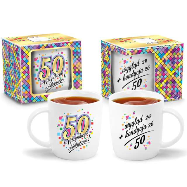 Kubek z nadrukiem 50 Urodziny biały BGtech 330 ml