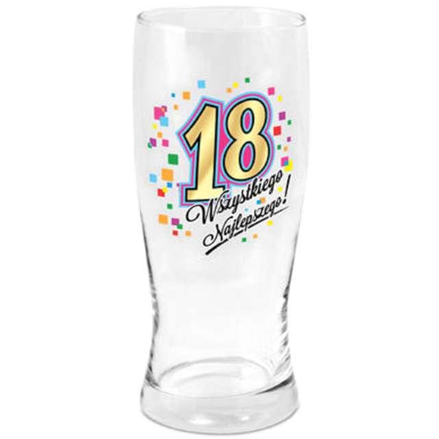 """Szklanka do piwa """"18 urodziny"""", z nadrukiem, BGtech, 500 ml"""