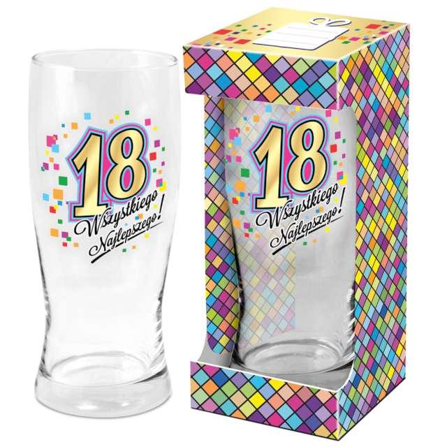 Szklanka do piwa 18 urodziny z nadrukiem BGtech 500 ml