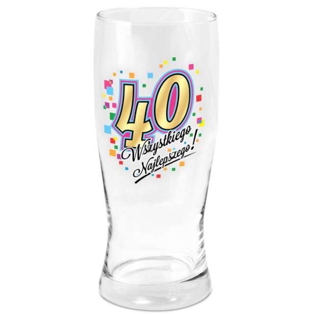 """Szklanka do piwa """"40 urodziny"""", z nadrukiem, BGtech, 500 ml"""