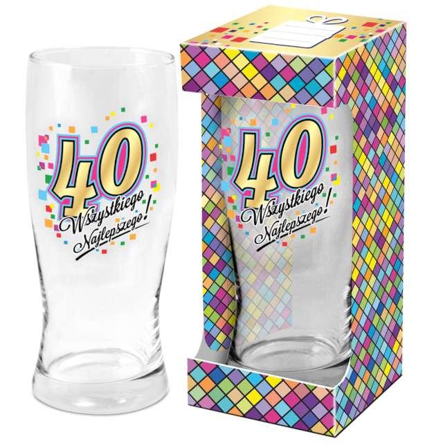 Szklanka do piwa 40 urodziny z nadrukiem BGtech 500 ml