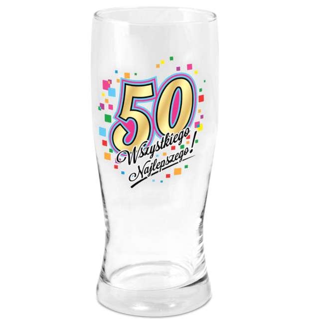 Szklanka do piwa 50 urodziny z nadrukiem BGtech 500 ml