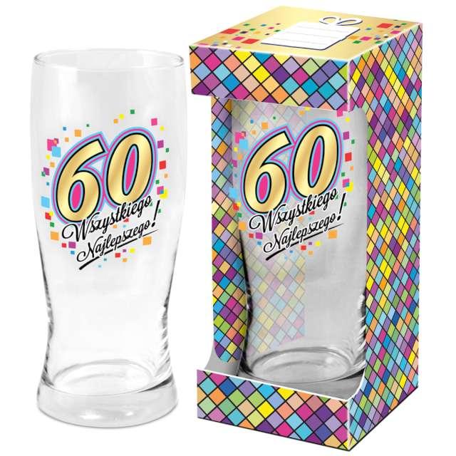 Szklanka do piwa 60 urodziny z nadrukiem BGtech 500 ml