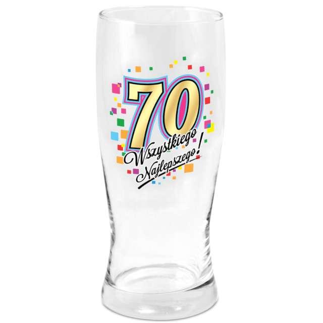 Szklanka do piwa 70 urodziny z nadrukiem BGtech 500 ml