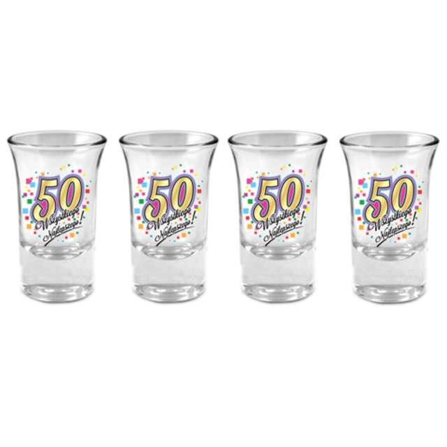 """Kieliszki do wódki """"50 Urodziny"""", szklane, BGtech, 35 ml, 4 szt"""