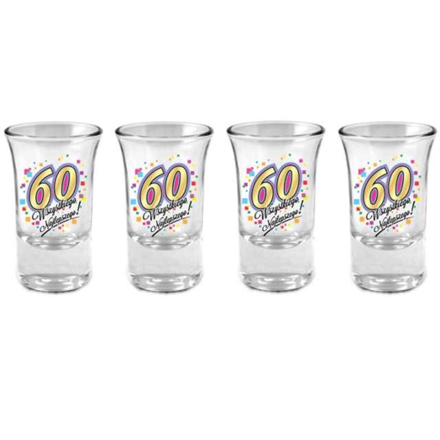 """Kieliszki do wódki """"60 Urodziny"""", szklane, BGtech, 35 ml, 4 szt"""