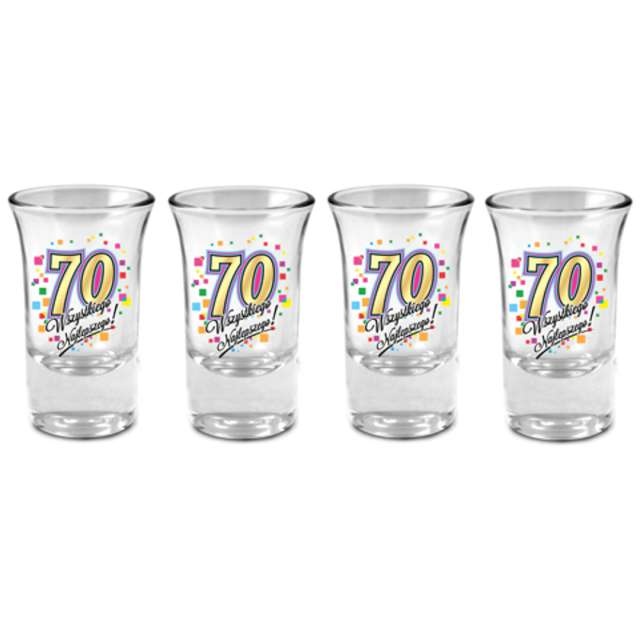 """Kieliszki do wódki """"70 Urodziny"""", szklane, BGtech, 35 ml, 4 szt"""