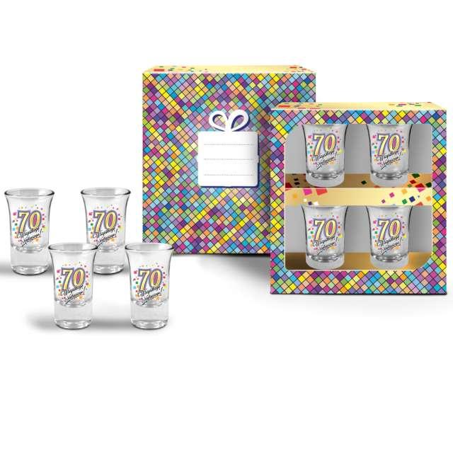 Kieliszki do wódki 70 Urodziny szklane BGtech 35 ml 4 szt