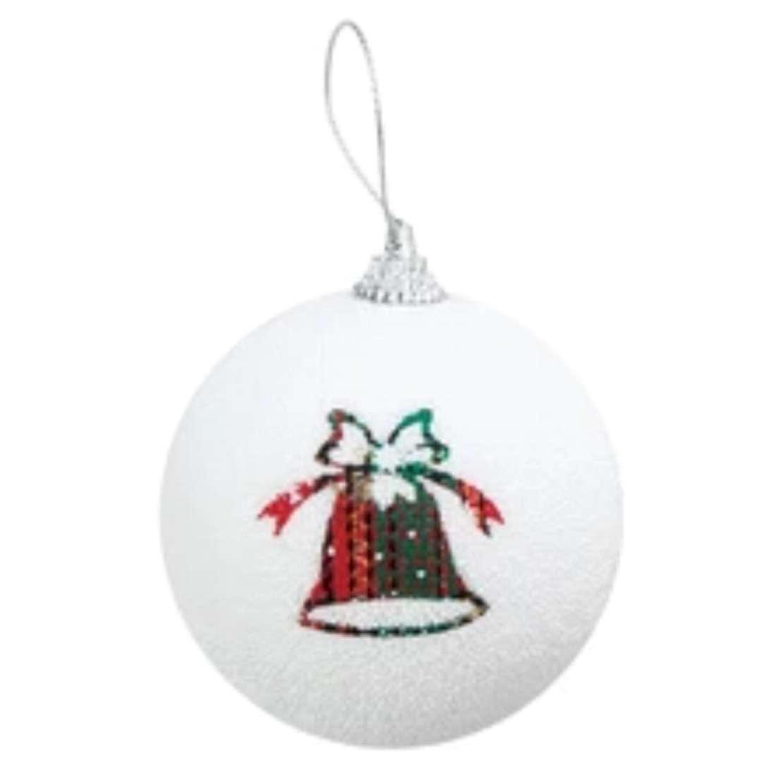 """Bombka """"Kolorowe dzwoneczki"""", biała, PartyPal, 7 cm"""