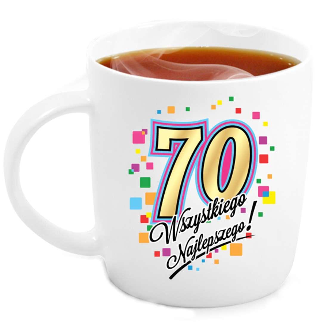 """Kubek z nadrukiem """"70 Urodziny"""", biały, BGtech, 330 ml"""